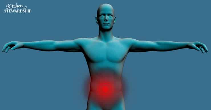 man with red stomach to show pain