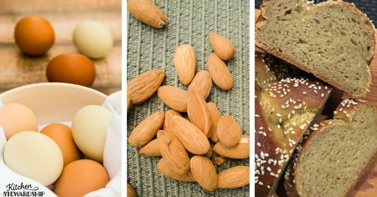 eggs, almonds and gluten-free bread