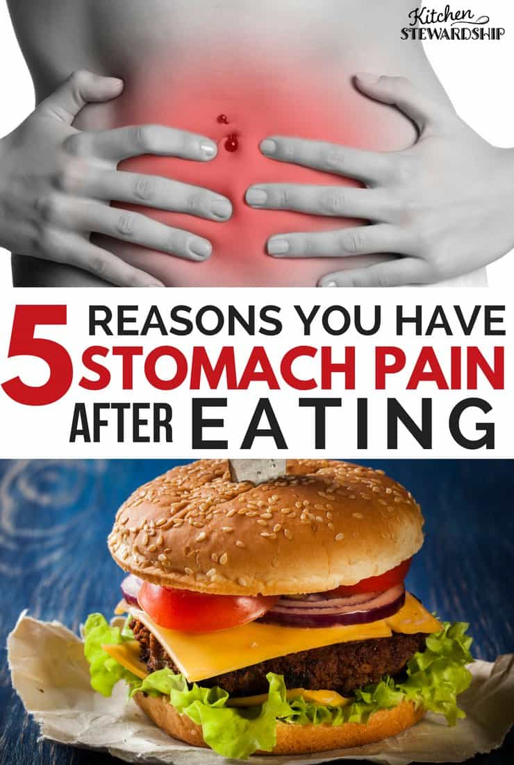 Red on a female stomach to show pain and a hamburger. 5 reasons you may have stomach pain after eating