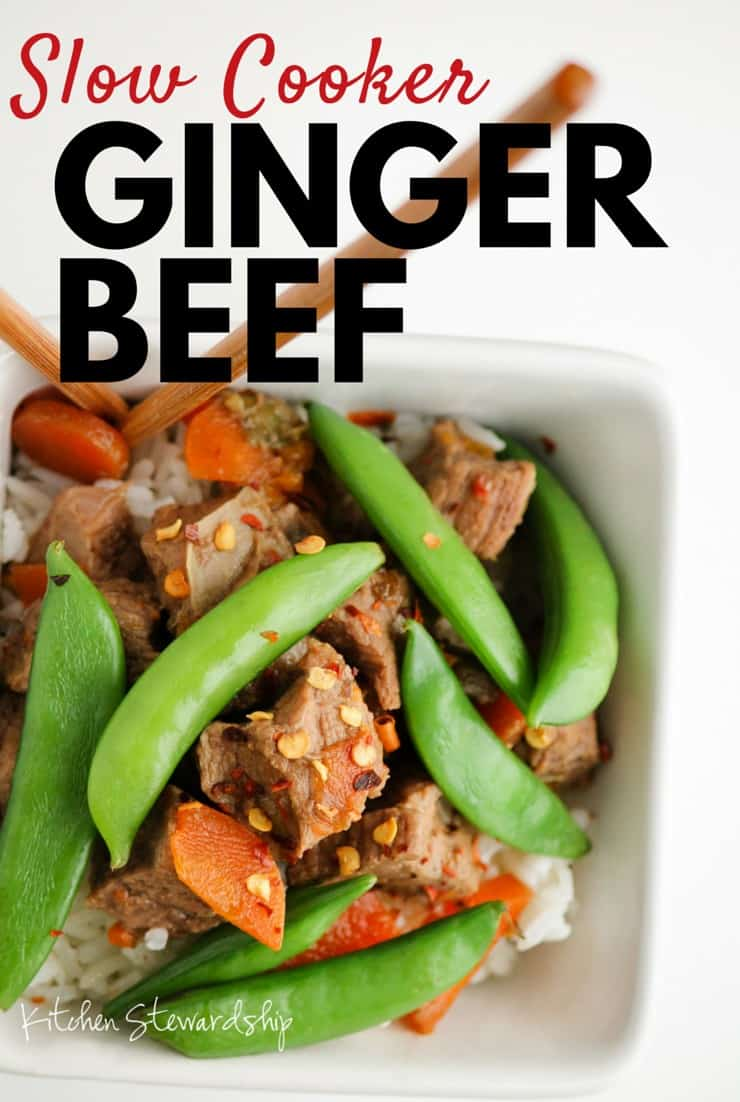 Slow cooker ginger beef - a super simple real food recipe for busy families! Set the crockpot and dinner is ready when you are.