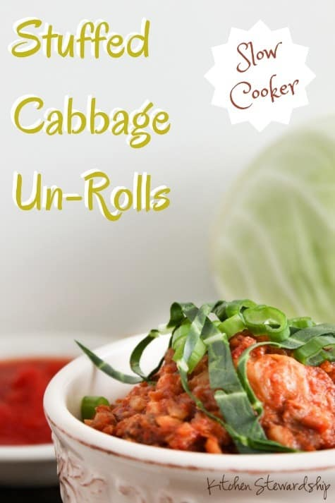 Slow Cooker Cabbage Un-Rolls Recipe - No rolling, no stuffing, just all the taste and nutrition of stuffed cabbage rolls in a super simple crockpot recipe.
