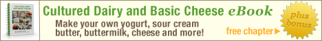 Get a free chapter from the Cultured Dairy and Basic Cheese eBook. Make your own yogurt, sour cream, butter, buttermilk, cheese, and more.