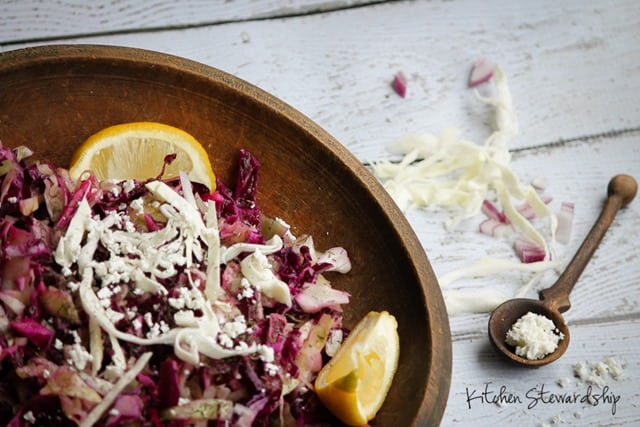 This super easy, quick slaw can be presented as a healthy cabbage salad or just a great appetizer to pass. Versatile and easy to love! (Plus cancer-fighting foods in abundance)