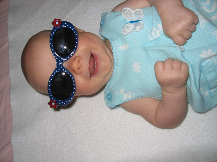 cute baby girl in sunglasses
