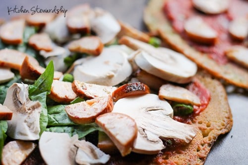 This Chickpea Flour Crust Pizza Recipe won't heat up the house on those hot summer days! It makes a nice, sturdy grain-free pizza crust with little hands on prep.