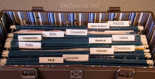organize the paper clutter in your kitchen