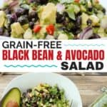 Super easy salad, dip, or taco topping ...black bean and avocado salad speaks volumes in flavor and will help you keep it simple for your next potluck or party #meatless #vegetarian #appetizer #cleaneatingrecipes #realfood