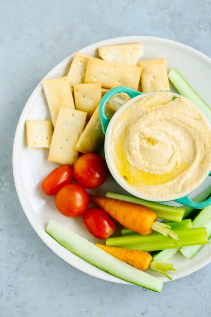 Easy, yummy homemade hummus recipe. Healthy Football Game Appetizers that won't take forever to make or cost much