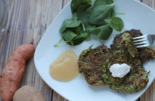 Easy Potato Vegetable Pancakes with Spinach