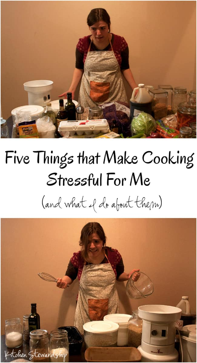 Cooking for allergies and real food from scratch can be tiring enough. Here are five things that make it stressful for me, and what I do about them. :: via Kitchen Stewardship