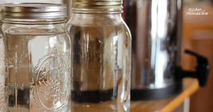 Water stored in mason jars for emergencies