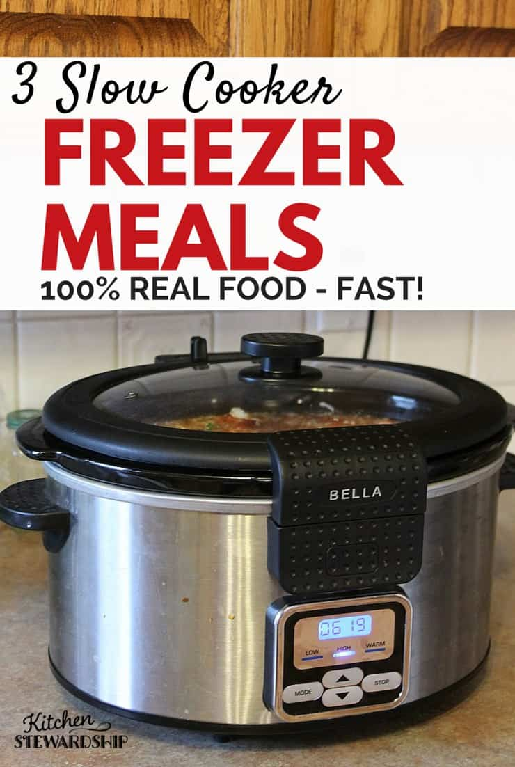 Real food has never been so easy. 20 minutes of prep work gets you 3 crockpot freezer meals. Chicken Taco Soup, Chicken Curry and Chicken Fajitas - done!