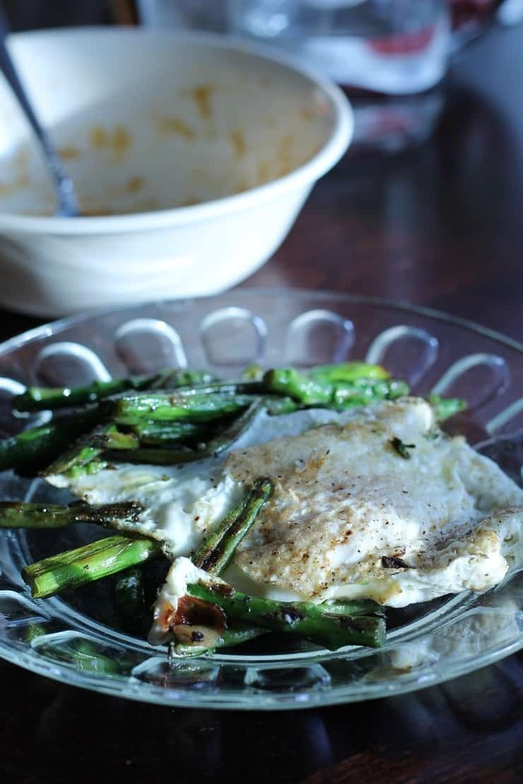 Breakfast Sauteed Asparagus with Soft Fried Egg and Leftover Porridge