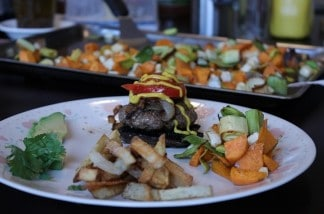Grilled-Hamburgers-on-Portabellas-Homemade-French-Fries-and-Roasted-Leeks-Sweet-potatoes-Rutabag.jpg