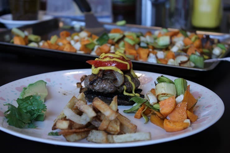 Grilled Hamburgers on Portabellas Homemade French Fries and Roasted Leeks Sweet potatoes Rutabag