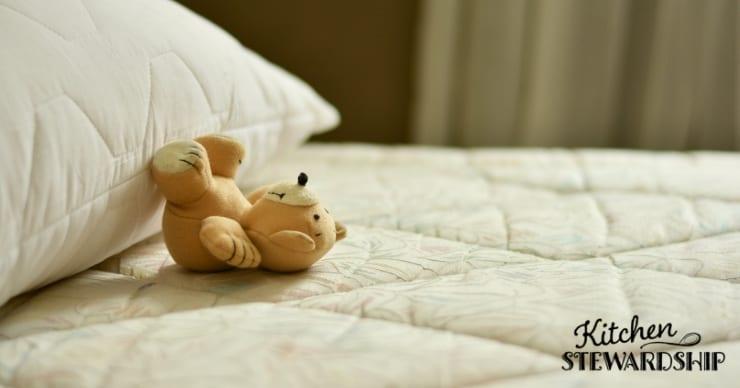 Bear laying on mattress