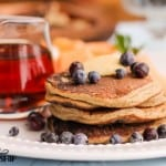 Perfect Grain-free Blueberry Pancakes Recipe. These grain-free pancakes are as easy as they are delicious! No more bland coconut flour pancakes...plenty of flavor, lift, and Paleo-legal to boot.