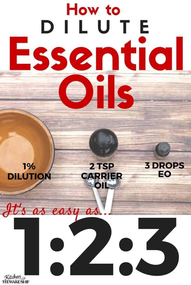 Essential Oil Dilution for Topical Applications - just remember it's as easy as 1-2-3. Free printable chart with all the drops and teaspoons for babies, toddlers, children and adults! It's important to dilute essential oils on the skin with a carrier oil like coconut oil (for almost all oils; very few can be applied neat). Learn how!