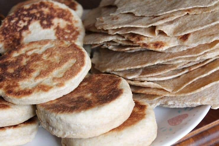 Whole Wheat Homemade English Muffins and Tortillas lots of bread