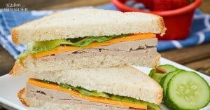 Homemade lunch meat is your lunch solution. Serve it on crackers, bread, plain or even rolled up with veggies inside! Perfect for all ages, from babies to adults.