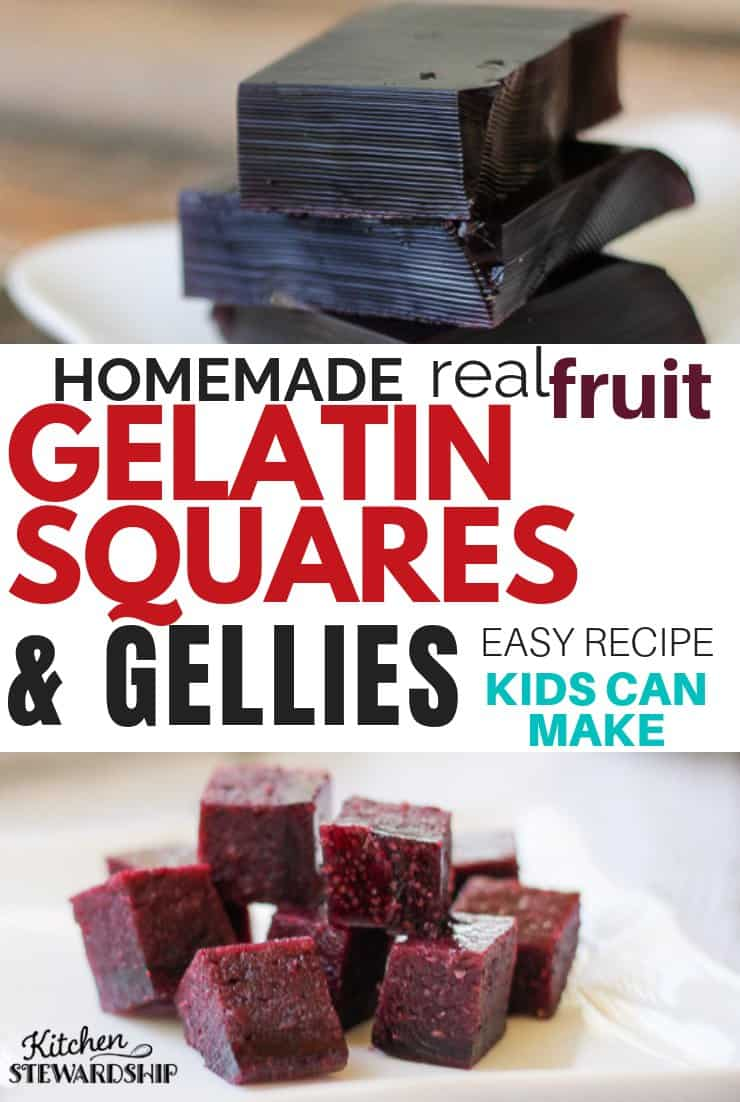 Homemade real fruit gelatin squares and gellies