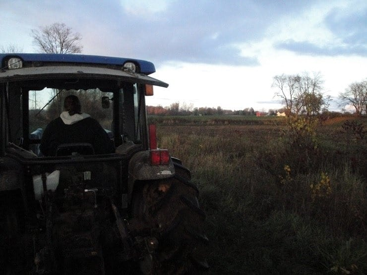 Tilling the field with a tractor