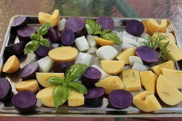 Roasted Blue Potatoes from CSA 2015