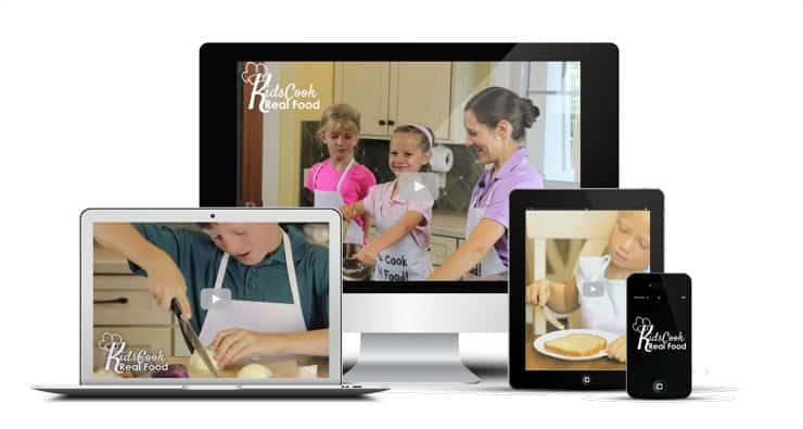 Kids Cook Real Food eCourse on a laptop, desktop, phone and tablet.