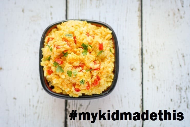 Your kid can help you freezer cook! Easy Egg Fried Rice #mykidmadethis