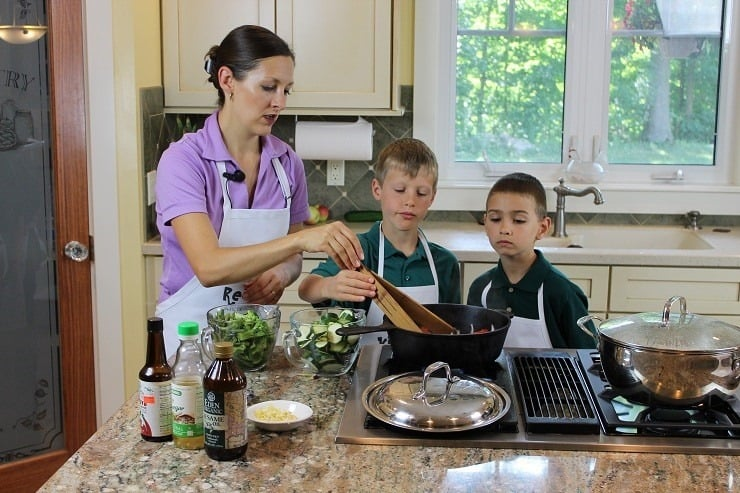 Kids Cook Real Food on the set advanced cooking stir fry