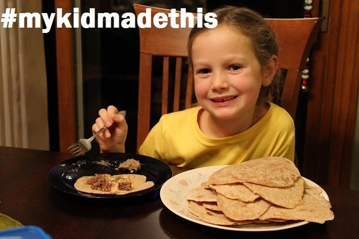 Leah and her homemade tortillas - she rolled them all by herself