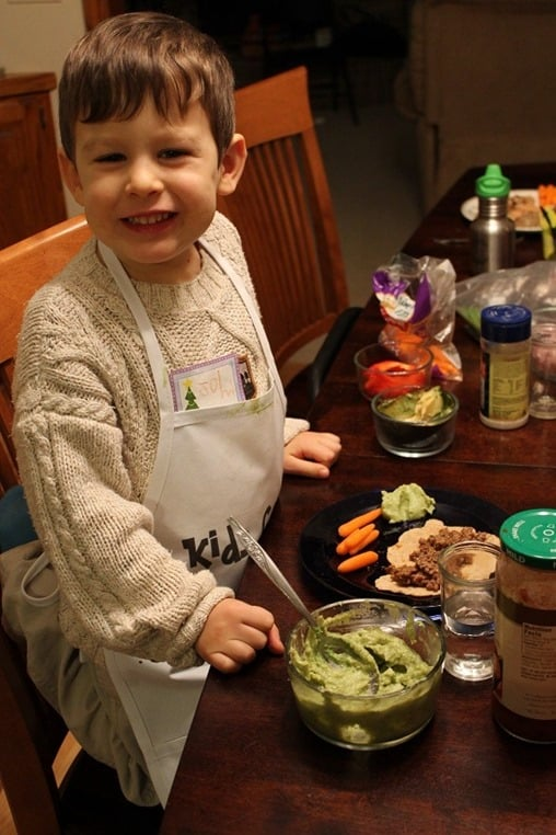 4yo with homemade guacamole he made himself.