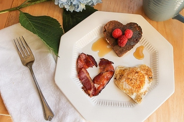 Whole 30 compliant Valentine's Day ideas...heart-shaped eggs and bacon (skip the pancakes)