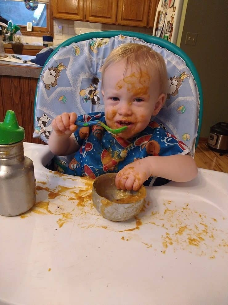 Toddler enjoys pumpkin pie grain free breakfast porridge too messy