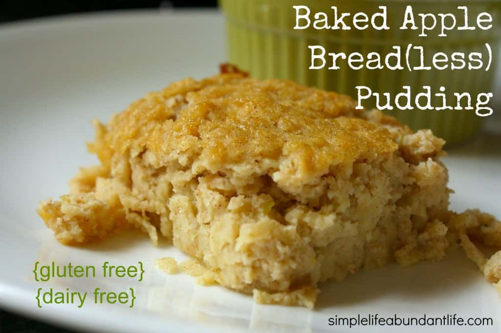baked apple breadless pudding 1