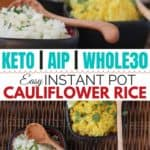 You CAN make Paleo cauli rice, the grain-free cauliflower side dish substitute, with your Instant Pot pressure cooker! Less chopping, NO food processor, and simple ingredients. #whole30 #paleo #grainfree #meatless #vegetarian #cleaneatingrecipes #realfood
