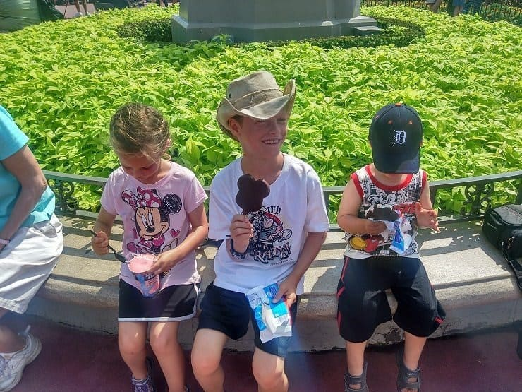 eating expensive ice cream at Disney World during a parade in 90 degree heat
