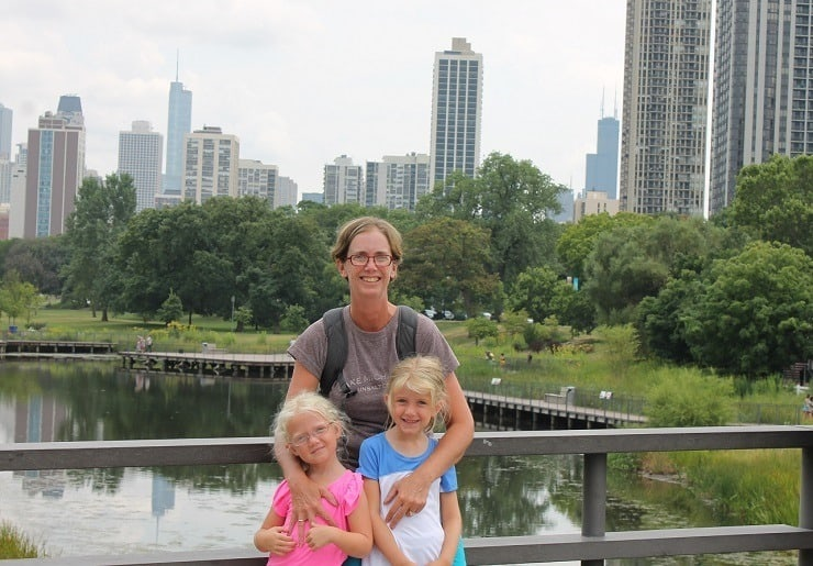Cherie and girls in Chicago