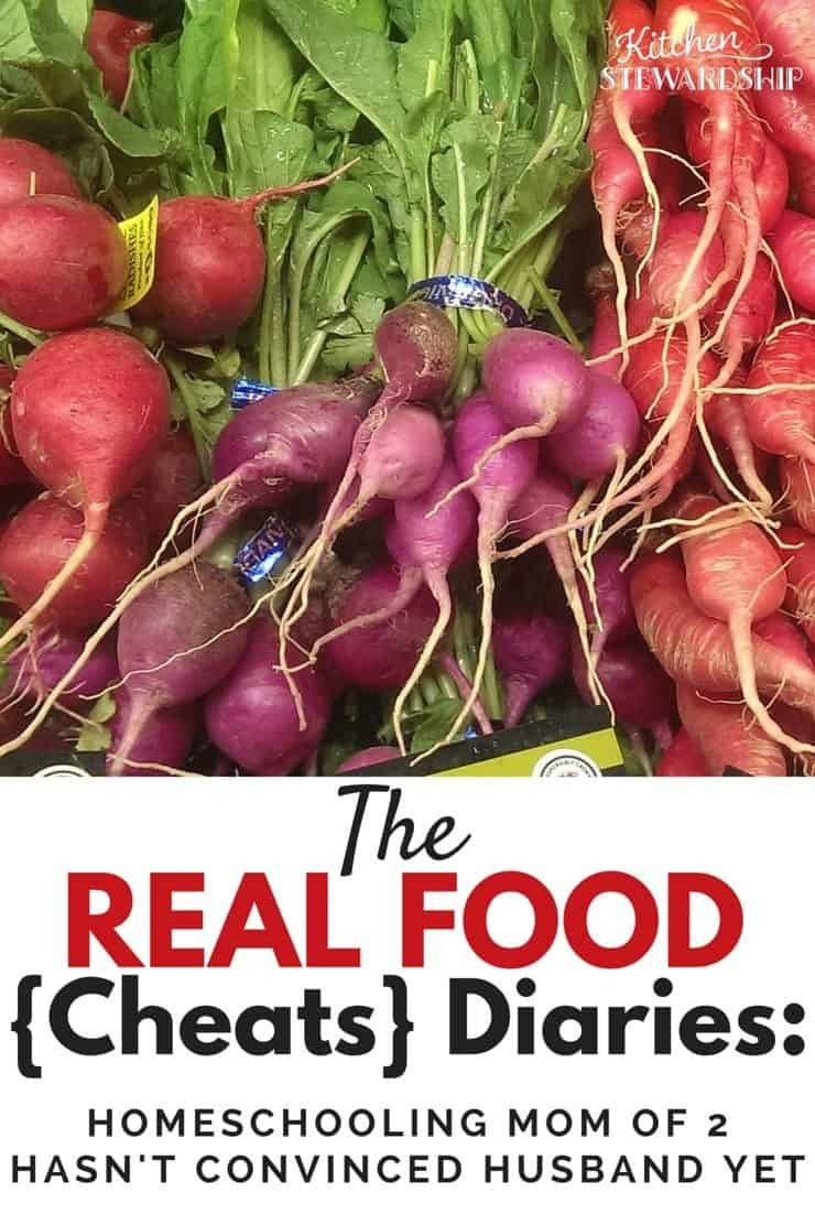 Real Food Cheats Diaries - Homeschooling Mom of 2 Hasn't Convinced Husband Yet. The latest in the series of Real Food Diaries - what people who claim to eat healthy REALLY eat! (Bottom line: None of us is perfect. Everyone is busy.)