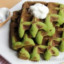 St. Pattys Day inspired grain-free waffles