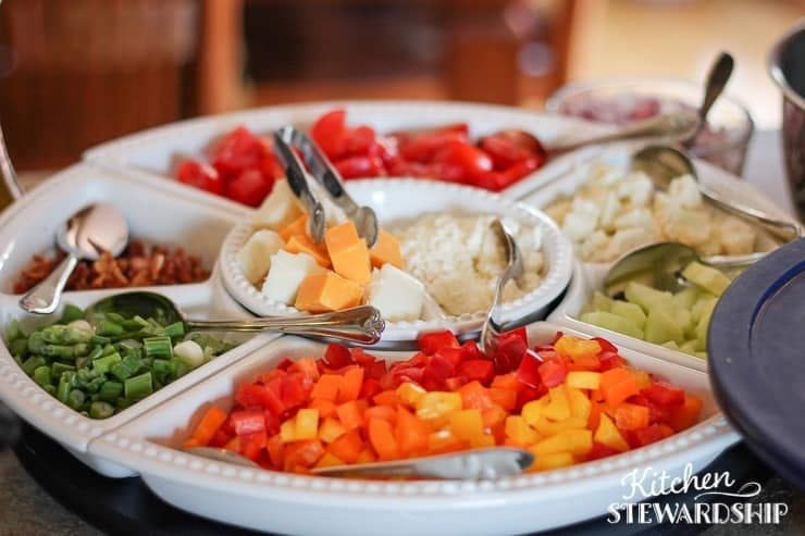 Pasta Salad Bar for a party with a big group - all the amazing toppings to choose from