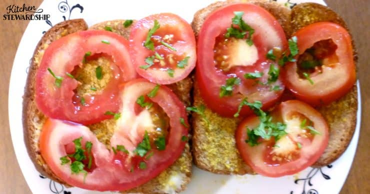 Tomato Toast - one way we use a Week's Share of CSA Vegetables