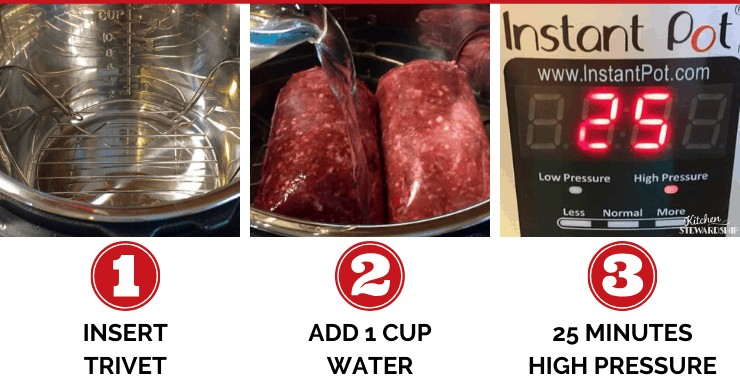 Step by step photo tutorial for How to Cook FROZEN Ground Beef in an electric pressure cooker