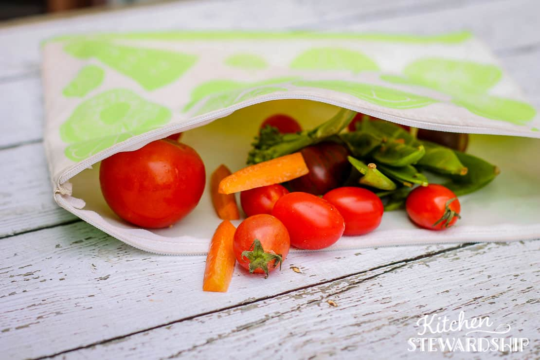 reusable snack bag with food