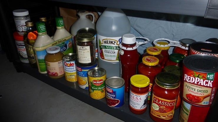 Department of dressings, sauces, oils and big jugs