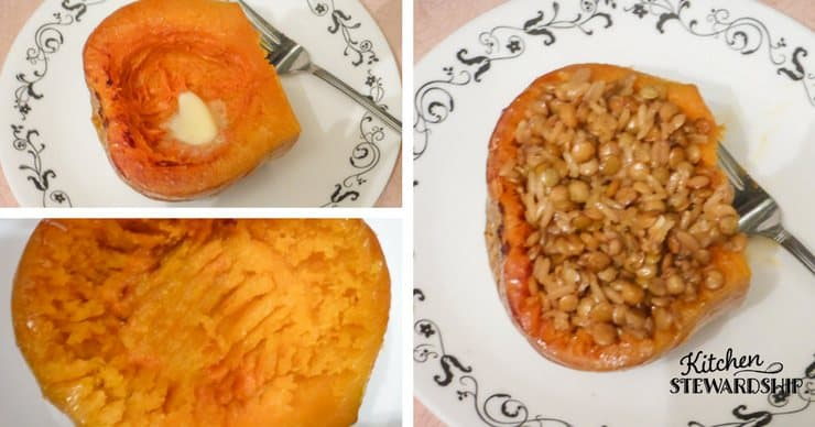 Thrifty Honey Baked Lentils - eat right out of a baked squash for an easy fall meal!