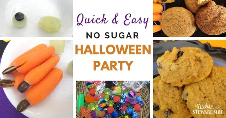 Quick and easy NO SUGAR school Halloween party. Games, activities, and real food plan done for you!