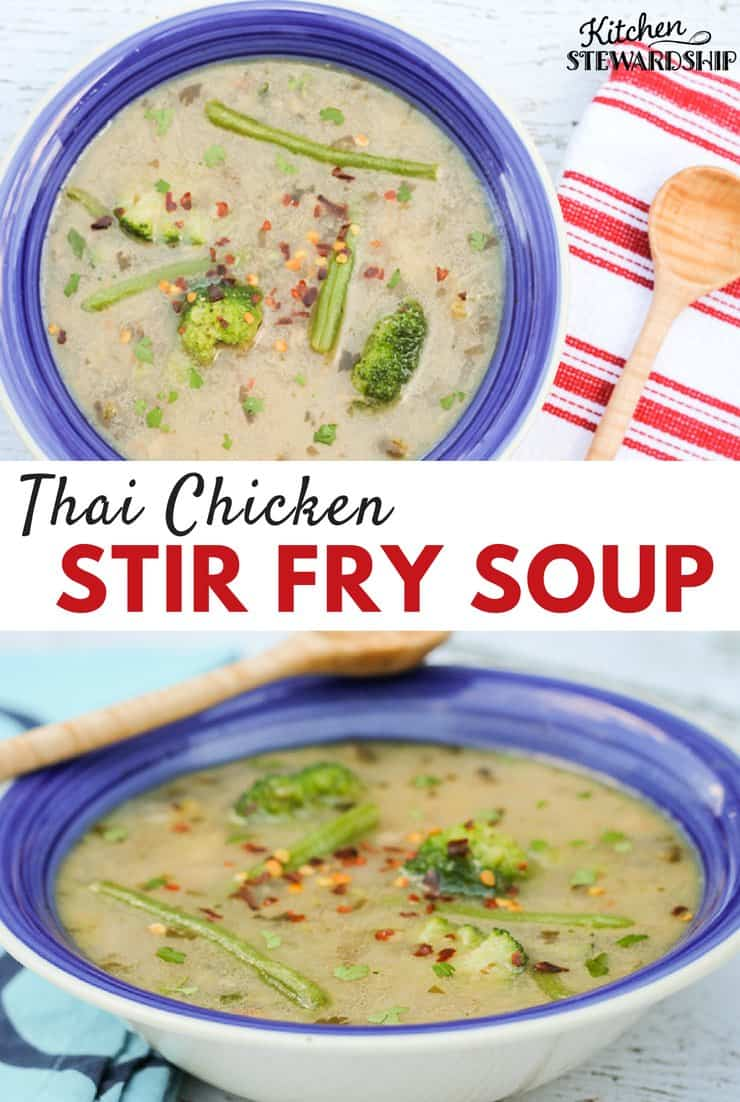 Thai Chicken Stir Fry Soup - Paleo recipe, tons of veggies, coconut milk and nourishing broth and so fast!