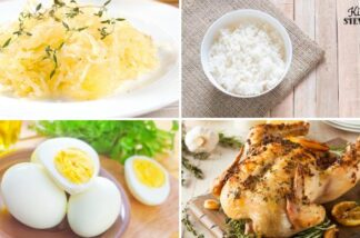 bowl of spaghetti squash, bowl of white rice, hard boiled eggs, and roasted chicken