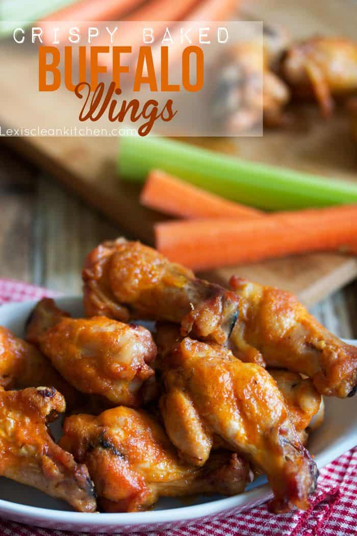 Make your traditional Big Game spread without cans and boxes! Crispy Baked Buffalo Wings - perfect for the big game or just a get together with friends.
